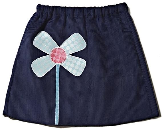 Navy cord skirt